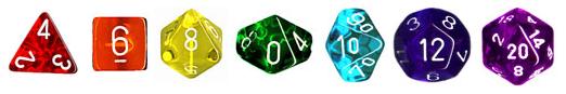 Rainbow-colored translucent dice set