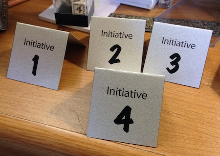 Table tents for tracking initative in RPGs